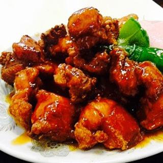 唐揚げの黒酢ソース(香味)