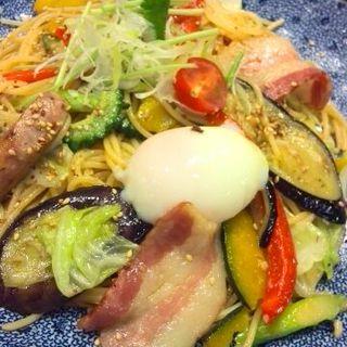 イベリコ豚と夏野菜づくしのよくばりスパゲッティー(醤油バター)(五右衛門 大井町店 )