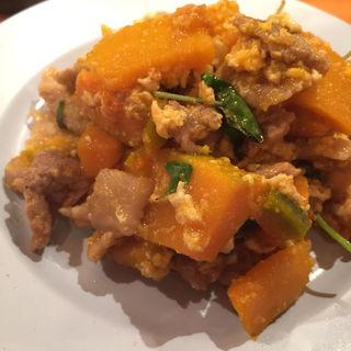 カボチャと卵と豚の甘辛炒め(パッポンキッチン)