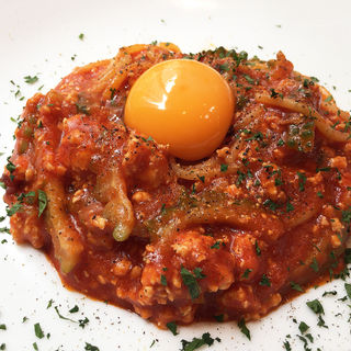 鶏そぼろとゴーヤのトマトソース 卵黄のせ(ポルトベッロ (Porto Bello))