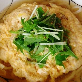 特製柚子の鶏つみれと水菜の卵とじうどん(cafe  中野屋)