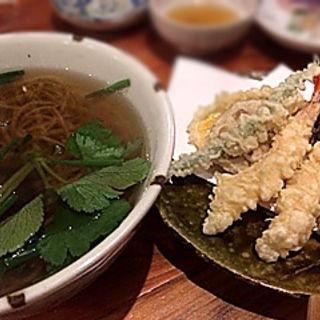 かけ蕎麦と天ぷらの盛り合わせセット(蕎房 猪口屋 (チョコヤ))