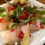 鮮魚のカルパッチョ  マチルダトマトのセミドライトマトソース