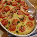ごぼうとトマトと豆乳きびソースグラタン