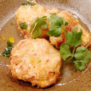 大和芋と豆腐の落し揚げ柚子と三つ葉のあんかけ(あきん )