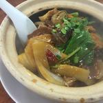 牛筋と豆腐ピリ辛土鍋ごはん