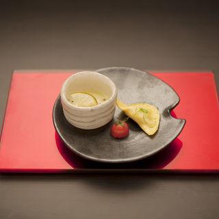 ポレンタとホウレン草のズッパ(スープ) 小さなフリッコを添えて