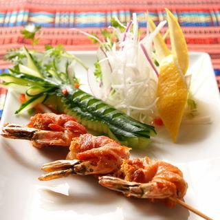 蝦とベーコンの串焼き(ワン アン ホア セン (Quan an Hoa sen))