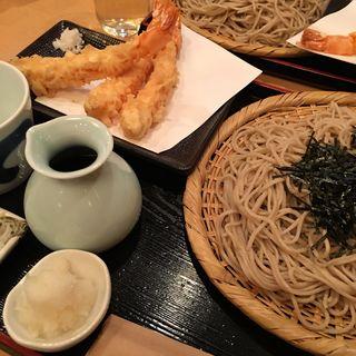 天ざる 蕎麦(車海老 3本)(手打蕎麦 松永 (まつなが))