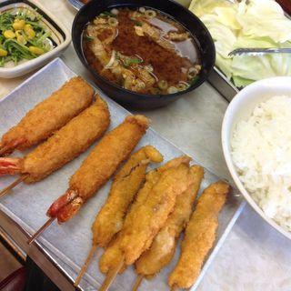 大海老アンド串かつ定食(菊井かつ)