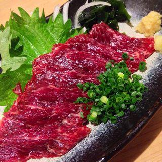 ナガス鯨刺身(酒とさか菜)