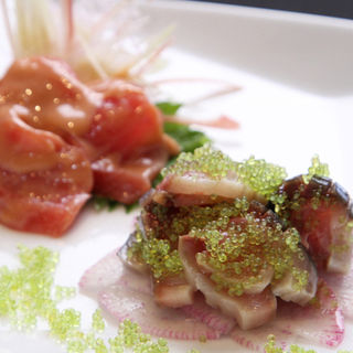 イカの塩辛と酢サバ(Japanese fusion Cuisine 美波音)