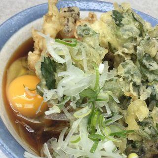 蕎麦+春菊天+キノコ天+卵(柳屋そば店)