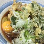 蕎麦+春菊天+キノコ天+卵