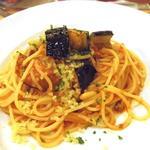秋刀魚と茄子のトマトパスタ