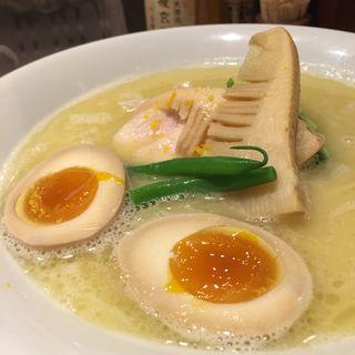 鶏白湯SOBA、味玉トッピング(銀座 篝)