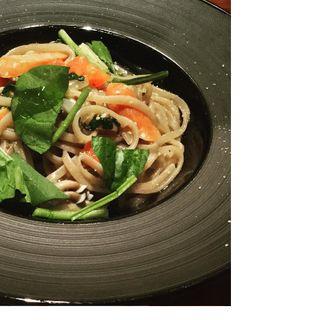 ・チョリソーとほうれん草・4種キノコのマスタードソースパスタ(TI DINING (【旧店名】TI DOCTORS RESTAURANT))
