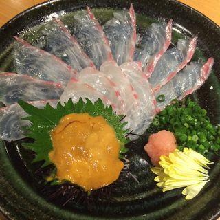 生ウニを巻いて楽しむ真鯛の薄造り(花ぜん 本店 (【旧店名】かっぺ亭))