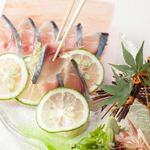 長崎県産 真鯖のかぼす〆 氷結プレート盛り