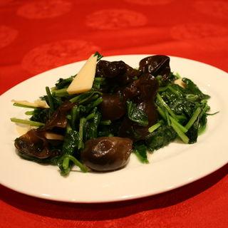 キクラゲと青菜炒め(上海大飯店)