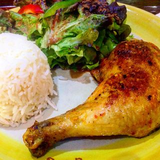 1/4 Piri-Piri chicken with salad,rice(Piri-Piri flaming chicken  Don Muang airport)
