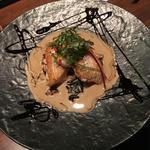 長崎産ノドグロのポワレ  トランペット茸のクリームソース