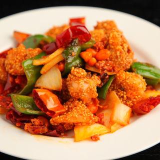 鶏肉の米揚げと野菜炒め (天然居 (テンネンキョ))