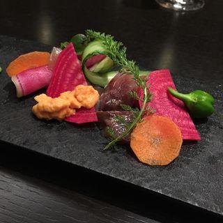温野菜のグリル ウニ添え(The Fifth Floor by MASA UEKI )