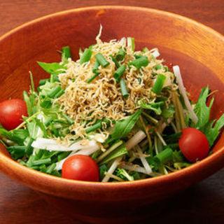 大根とじゃこと水菜の和風サラダ(ふくまめ )