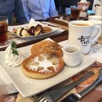 もちもちパンケーキ プレーン、コーヒー(Dessert cafe 雪のはな 東京原宿店)