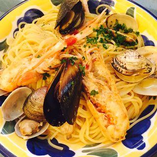 スカンピーと3種の貝のオイルソース リングイネ(大衆イタリア食堂アレグロ つかしん店 )