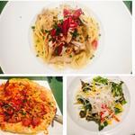ランチA(ツナとキノコのペペロンチーノ、トマトのピザ、色々なお野菜ミックスサラダ)