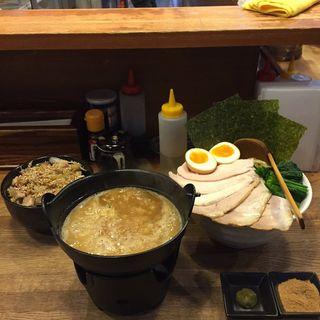 濃厚鶏白湯つけ麺 大盛 ネギチャーシュー丼(麺屋時茂)