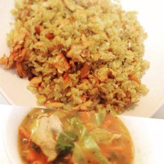 新巻鮭ドライ式カレーバター風味 豚肉とタップリ野菜のトマトスープ (自宅)