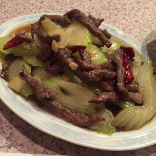 牛肉細切りとセロリのピリ辛炒め(北京飯店 (ペキンハンテン))