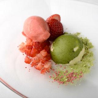 抹茶と苺のアイス(レストラングースト)