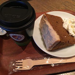 マカダミアナッツフレーバーコーヒー/モカシフォンケーキ(ホノルル コーヒー 三宮店)