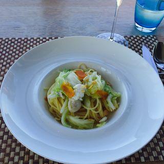 甘いキャベツとカラスミ、カワハギのペペロンチーノ(ラ・ソラシド フードリレーションレストラン (LA SORA SEED FOOD RELATION RESTAURANT ))