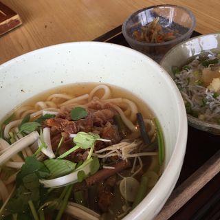 牛しぐれ煮と春野菜のうどん&しらすご飯(響 カレッタ汐留店  (ひびき))
