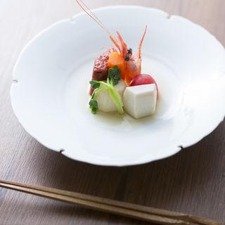 海老と野菜のお浸し(割烹 くぼた )