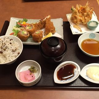 豚ロールかつと香味フライ定食(かごの屋 五条七本松店 )