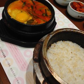 豚キムチスンドゥブAセット(korean cafe dining dammiなんばパークス店)