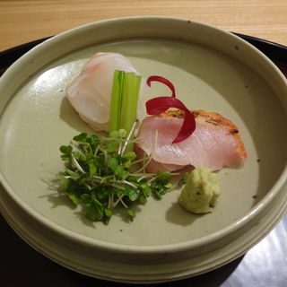 鯛と金目鯛のお造り(日本料理太月)
