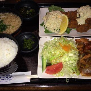 チキン南蛮&豚生姜焼き定食(ぱ・らんて)