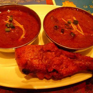 ランチ インドカレー二種類とタンドリーチキン(KC's DINING)