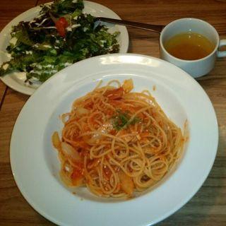 フレッシュモッツァレラとトマトのスパゲティ(atari CAFE&DINING 渋谷 (アタリ カフェアンドダイニング))