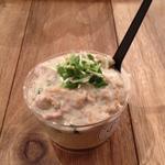 春菊と豚肉の豆乳ポテトクリーム