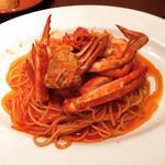ランチ パスタ 渡り蟹のトマトソース