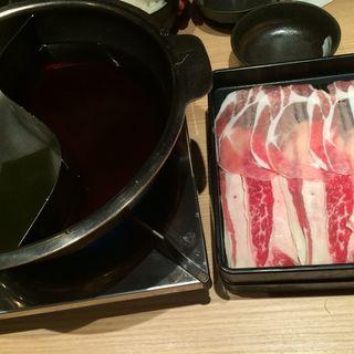 お昼のしゃぶしゃぶ定食 牛豚合い盛り定食(菜つき亭)