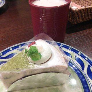 あずきのチーズケーキ  カフェオレセット(汐汲坂ガーデン)